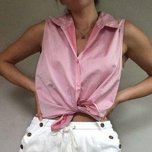 Express Vintage Light Pink Collard Button Up Top